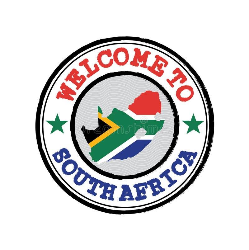 Timbre de vecteur d'accueil vers l'Afrique du Sud avec le contour de carte de la nation au centre illustration stock
