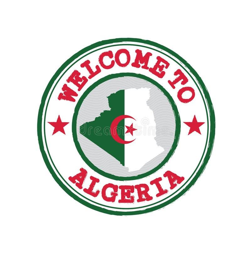 Timbre de vecteur d'accueil vers l'Algérie avec le contour de carte de la nation au centre illustration libre de droits