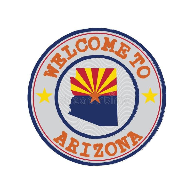 Timbre de vecteur d'accueil vers l'Arizona avec le drapeau d'états sur le contour de carte au centre illustration de vecteur