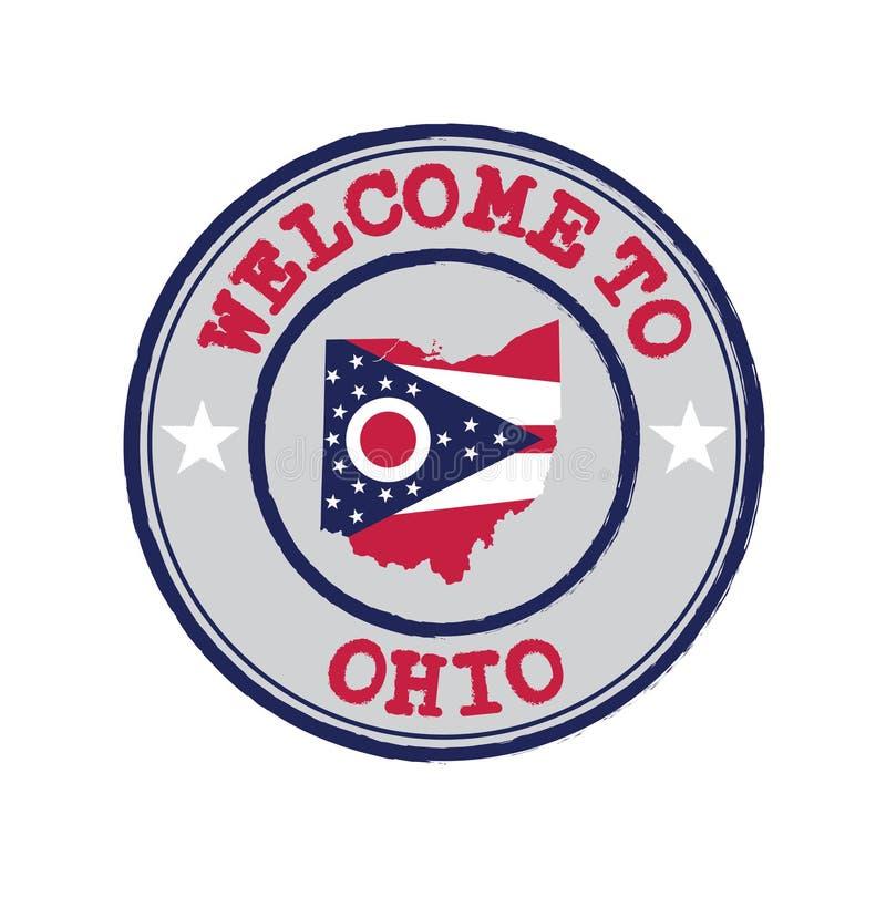 Timbre de vecteur d'accueil vers l'Ohio avec le drapeau d'états sur le contour de carte au centre illustration stock