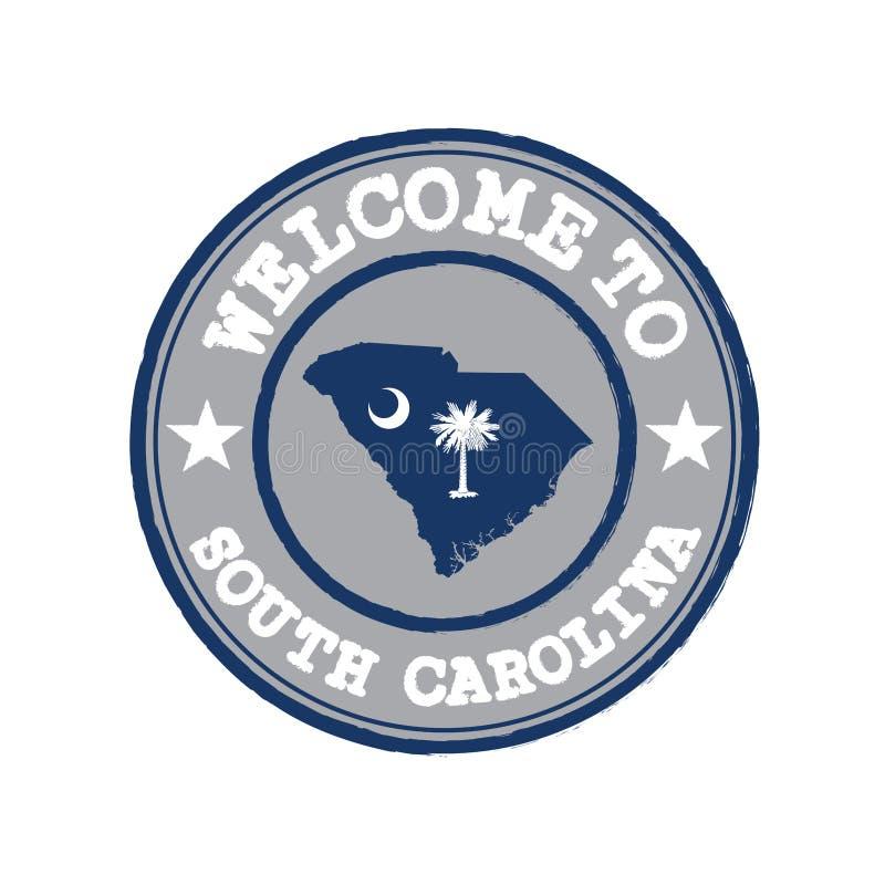 Timbre de vecteur d'accueil vers la Caroline du Sud avec le drapeau d'états sur le contour de carte au centre illustration de vecteur