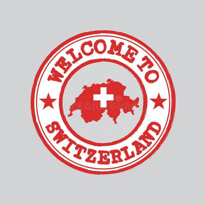 Timbre de vecteur d'accueil vers la Suisse avec le contour de carte de la nation au centre illustration libre de droits