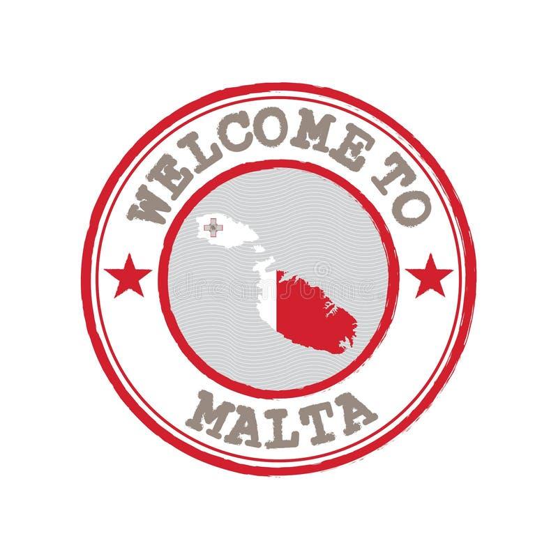 Timbre de vecteur d'accueil vers Malte avec le drapeau de nation sur le contour de carte au centre illustration libre de droits