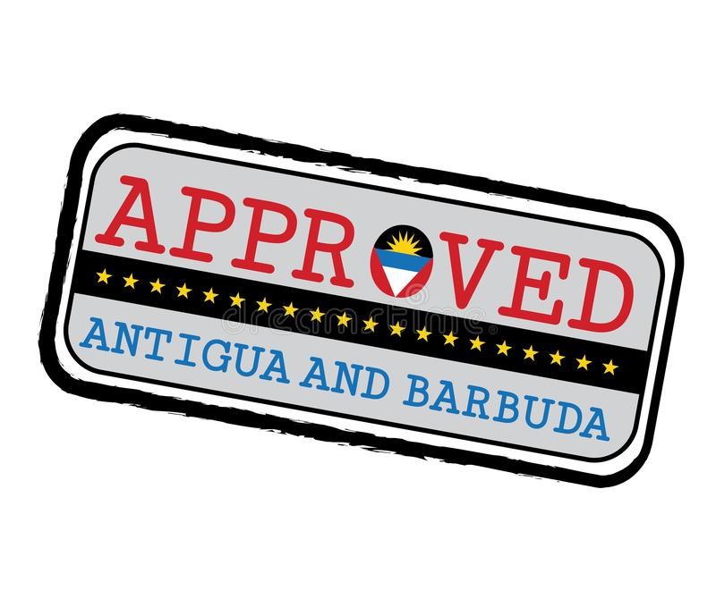 Timbre de vecteur de logo approuvé avec le drapeau de l'Antigua sous forme d'O et texte Antigua-et-Barbuda illustration de vecteur