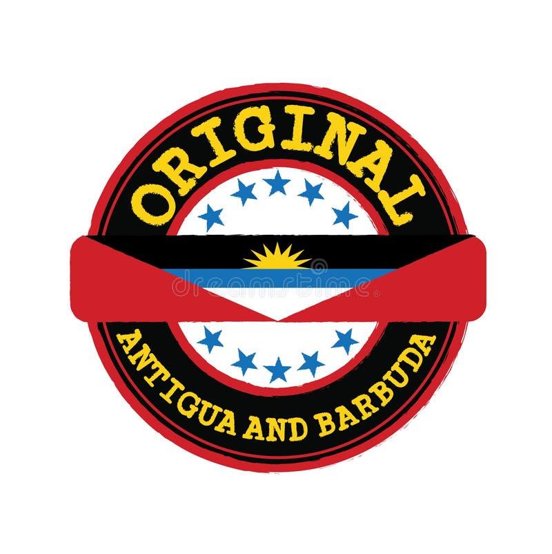 Timbre de vecteur de logo original avec le texte Antigua-et-Barbuda et attachement au milieu avec le drapeau de nation illustration de vecteur