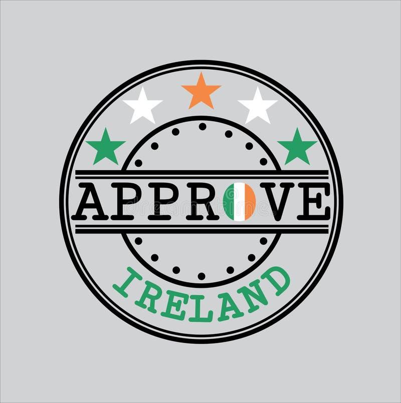 Timbre de vecteur pour le logo Approve avec le drapeau irlandais sous forme d'O et texte Irlande illustration de vecteur