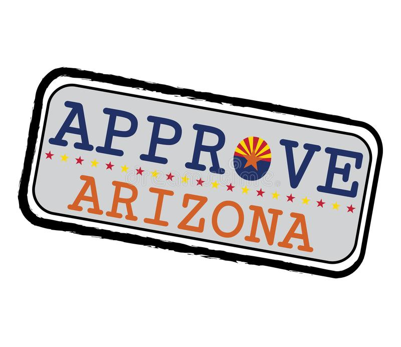 Timbre de vecteur pour le logo Approve avec le drapeau de l'Arizona sous forme d'O et texte Arizona illustration de vecteur