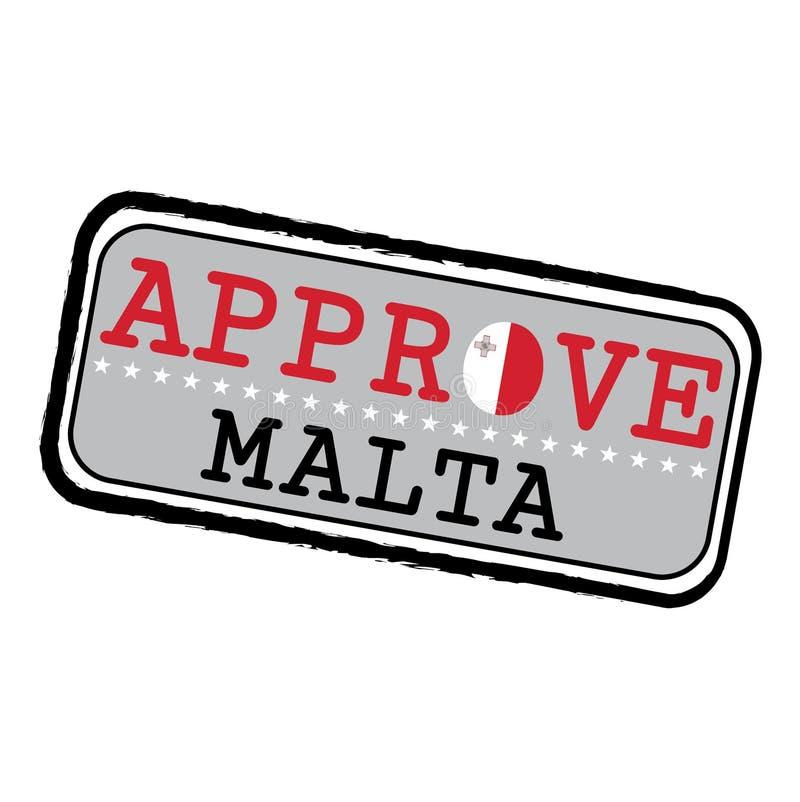 Timbre de vecteur pour le logo Approve avec le drapeau de Malte sous forme d'O et texte Malte illustration stock