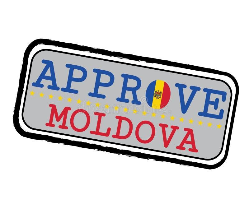 Timbre de vecteur pour le logo Approve avec le drapeau de Moldau sous forme d'O et texte Moldau illustration libre de droits