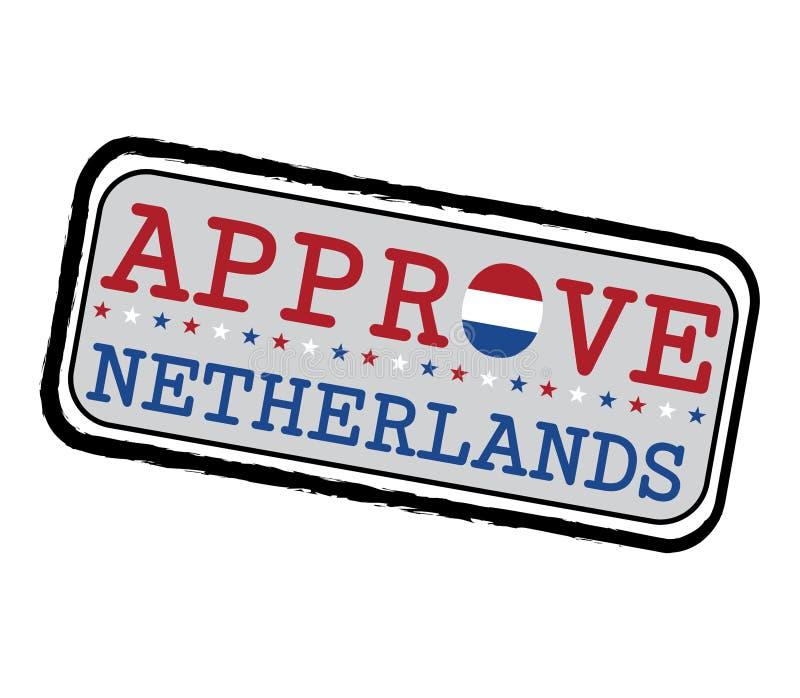 Timbre de vecteur pour le logo Approve avec le drapeau de Nederland sous forme d'O et texte Pays-Bas illustration libre de droits