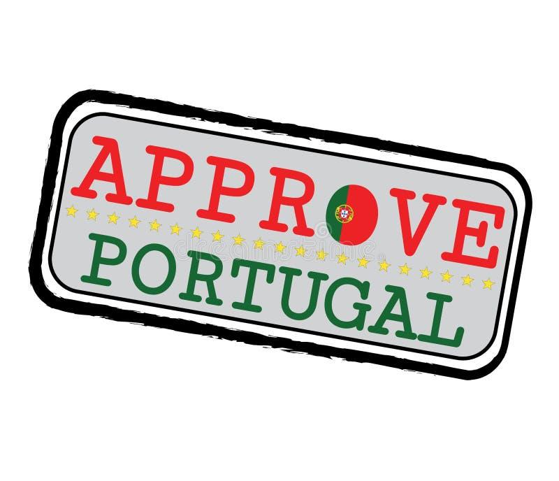 Timbre de vecteur pour le logo Approve avec le drapeau portugais sous forme d'O et texte Portugal illustration libre de droits