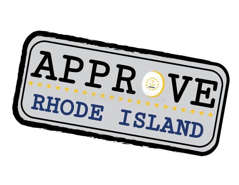 Timbre de vecteur pour le logo Approve avec Rhode Island Flag sous forme d'O et texte Rhode Island illustration stock