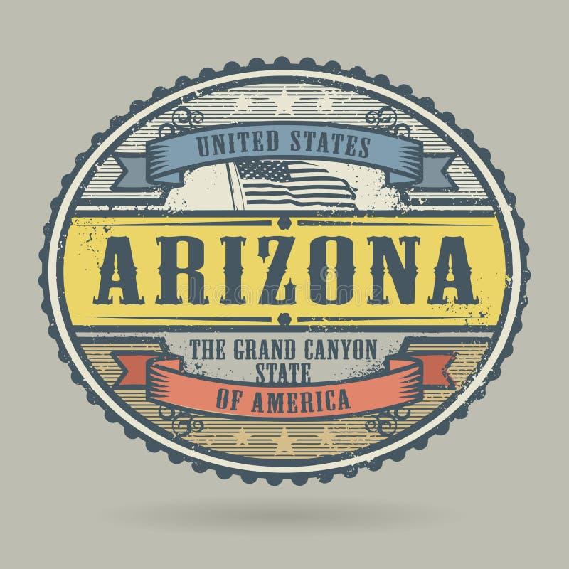 Timbre de vintage avec le texte Etats-Unis d'Amérique, Arizona illustration libre de droits