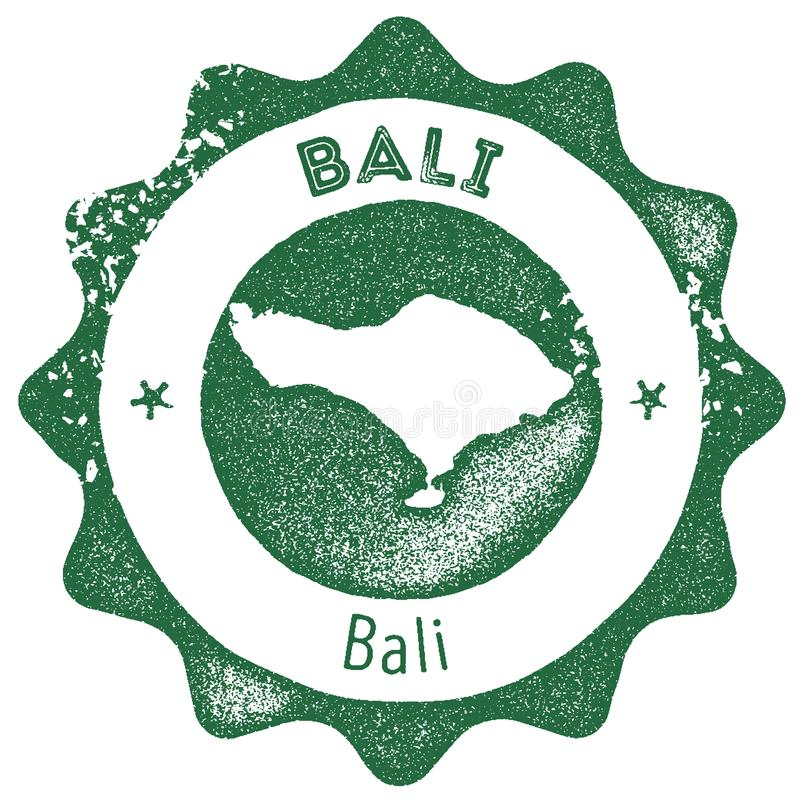 Timbre de vintage de carte de Bali illustration stock