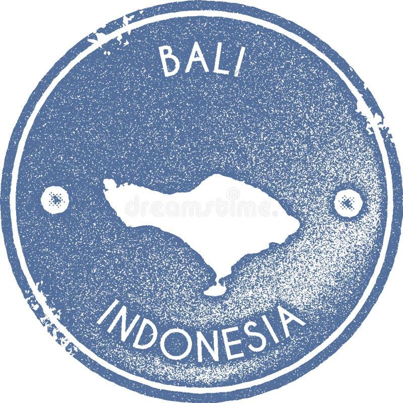 Timbre de vintage de carte de Bali illustration de vecteur