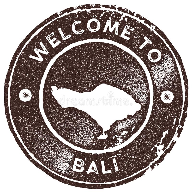 Timbre de vintage de carte de Bali illustration libre de droits