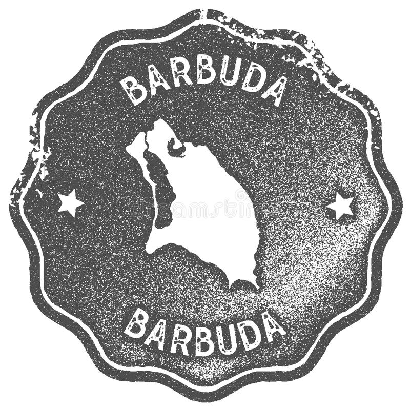 Timbre de vintage de carte de Barbuda illustration libre de droits
