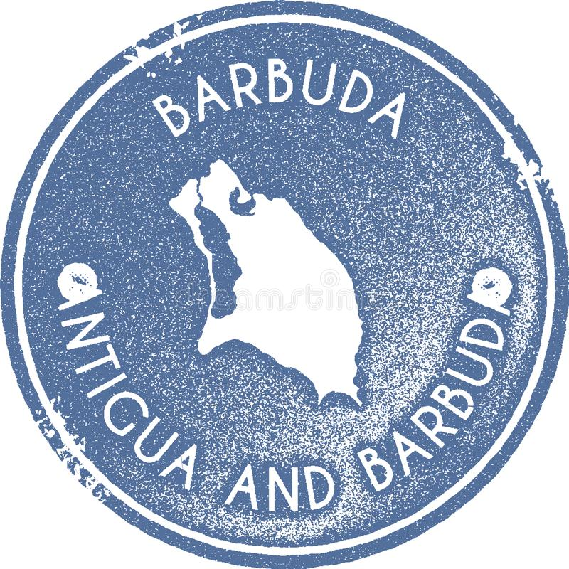 Timbre de vintage de carte de Barbuda illustration de vecteur