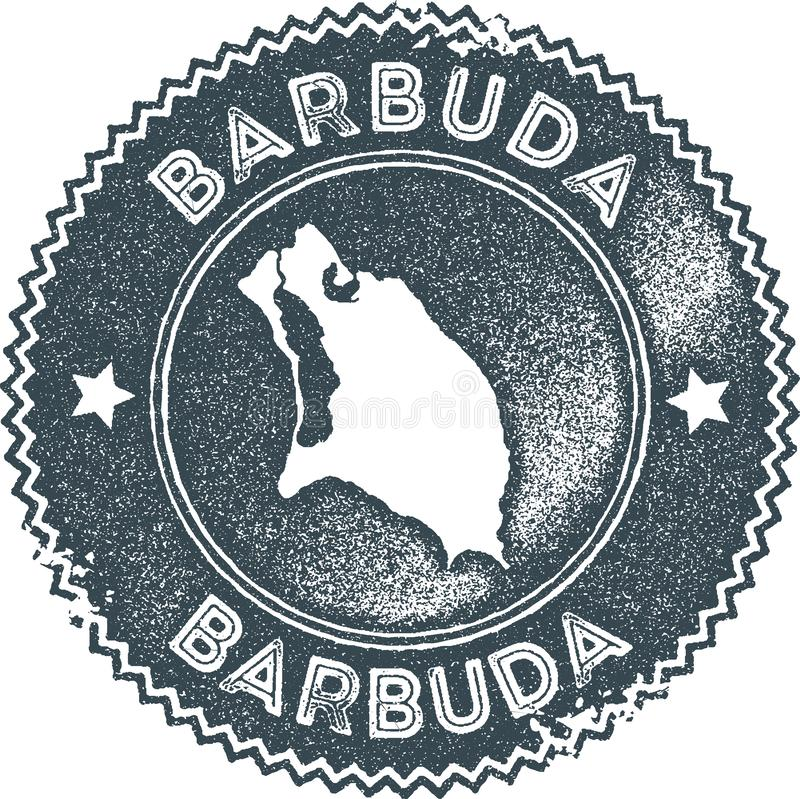Timbre de vintage de carte de Barbuda illustration de vecteur
