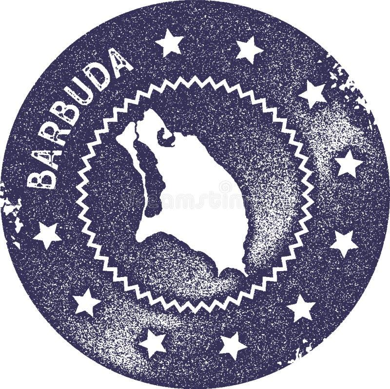 Timbre de vintage de carte de Barbuda illustration stock