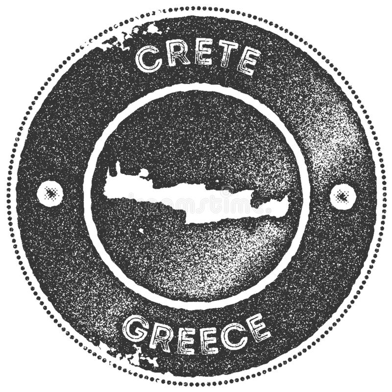 Timbre de vintage de carte de Crète illustration stock