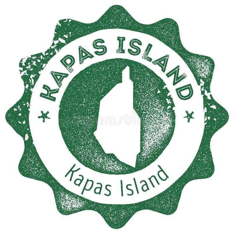 Timbre de vintage de carte d'île de Kapas illustration libre de droits