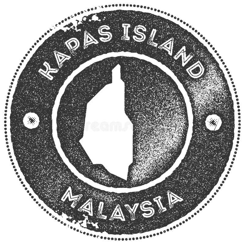 Timbre de vintage de carte d'île de Kapas illustration de vecteur