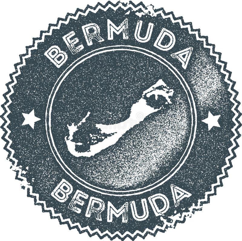 Timbre de vintage de carte des Bermudes illustration libre de droits