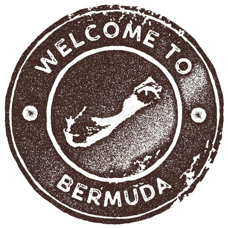 Timbre de vintage de carte des Bermudes illustration de vecteur
