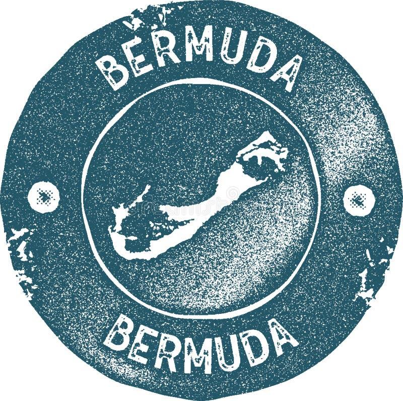 Timbre de vintage de carte des Bermudes illustration stock