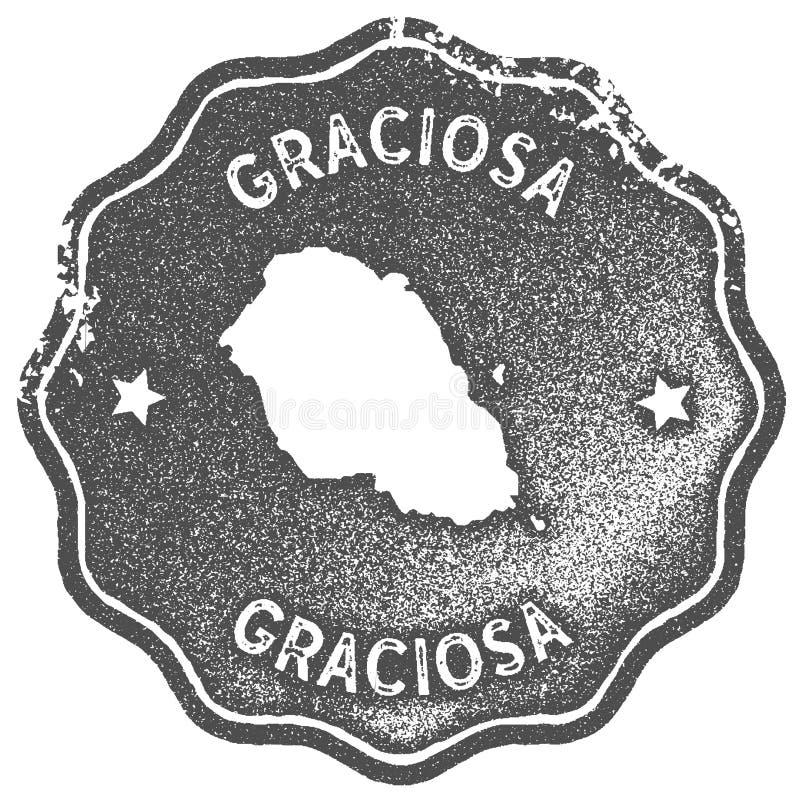 Timbre de vintage de carte de Graciosa illustration stock