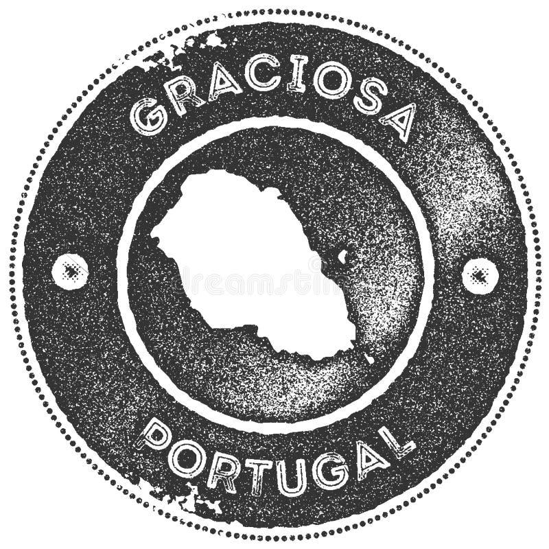 Timbre de vintage de carte de Graciosa illustration de vecteur
