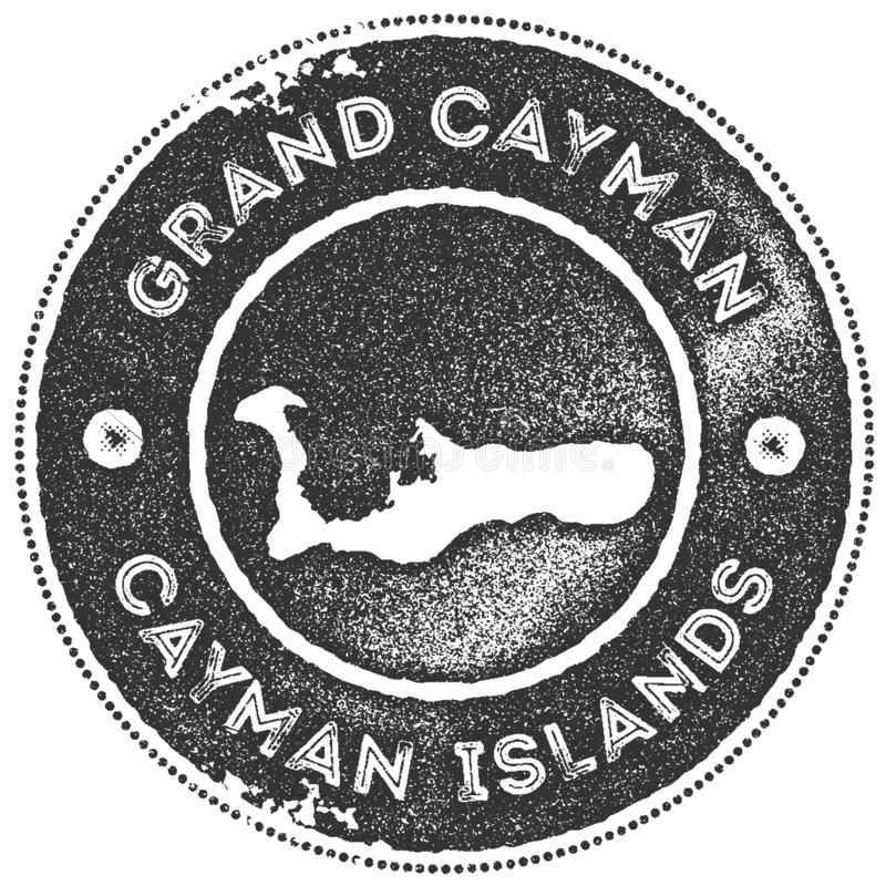 Timbre de vintage de carte de Grand Cayman illustration libre de droits