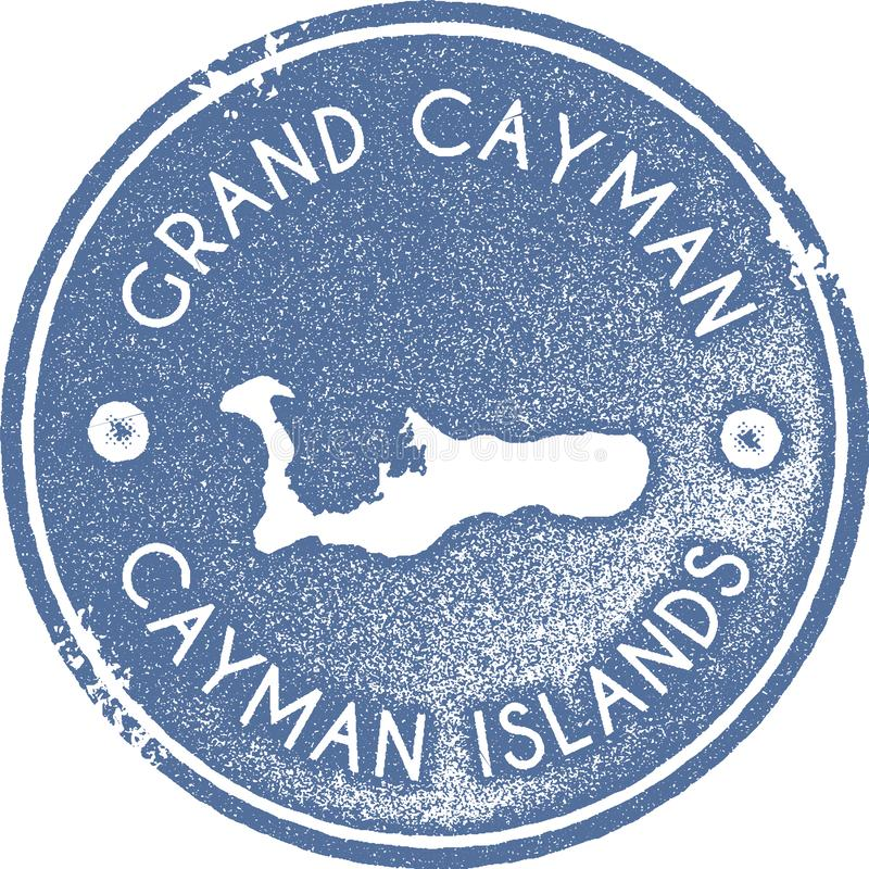 Timbre de vintage de carte de Grand Cayman illustration de vecteur