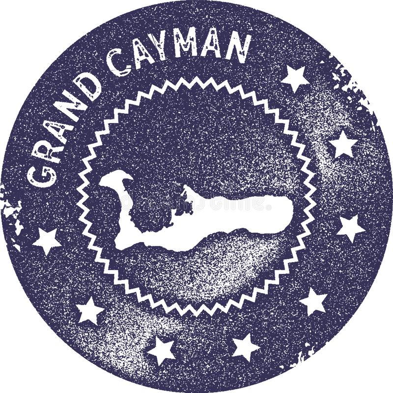 Timbre de vintage de carte de Grand Cayman illustration stock