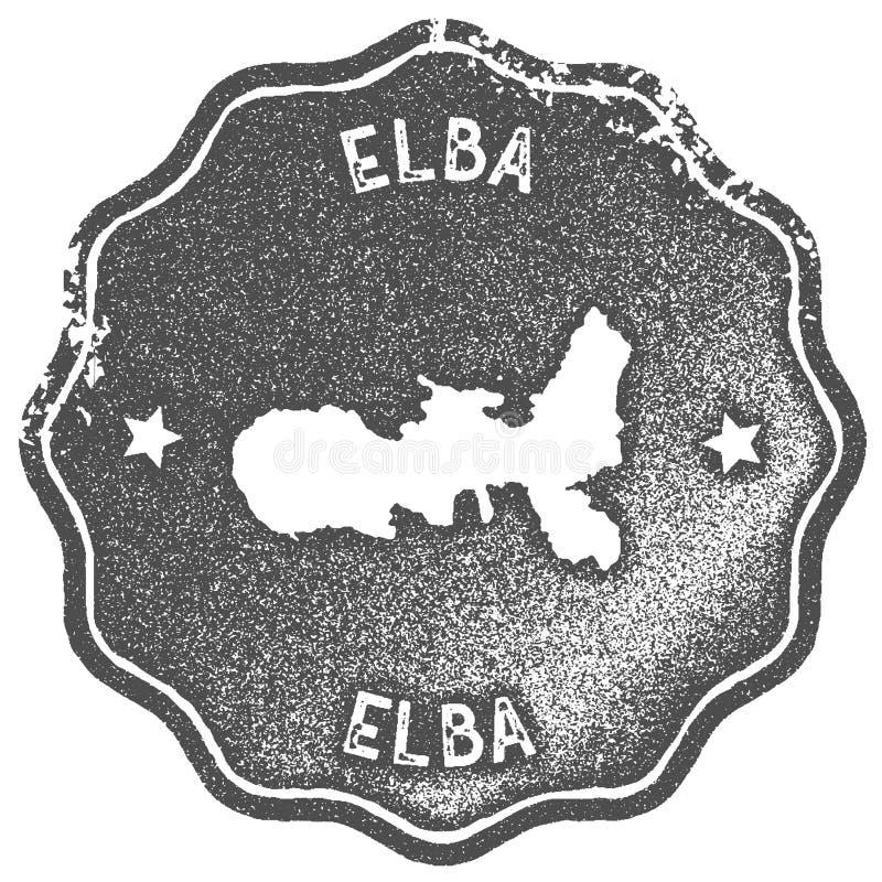 Timbre de vintage de carte de l'Île d'Elbe illustration libre de droits