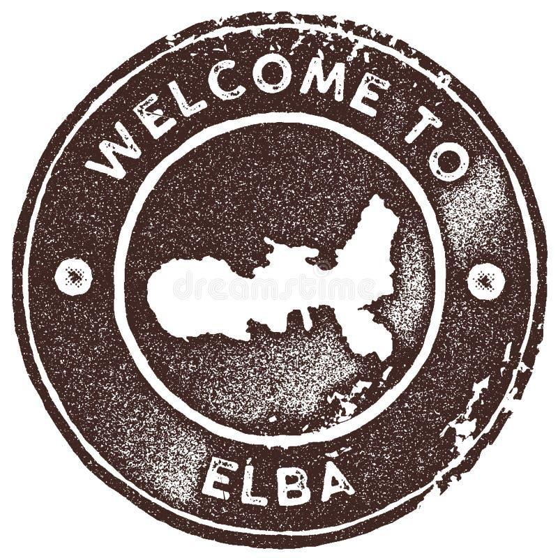 Timbre de vintage de carte de l'Île d'Elbe illustration stock