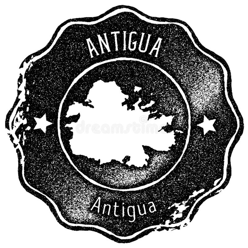 Timbre de vintage de carte de l'Antigua illustration de vecteur
