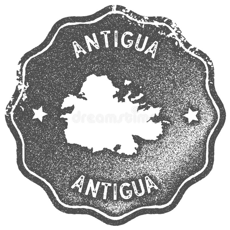 Timbre de vintage de carte de l'Antigua illustration libre de droits