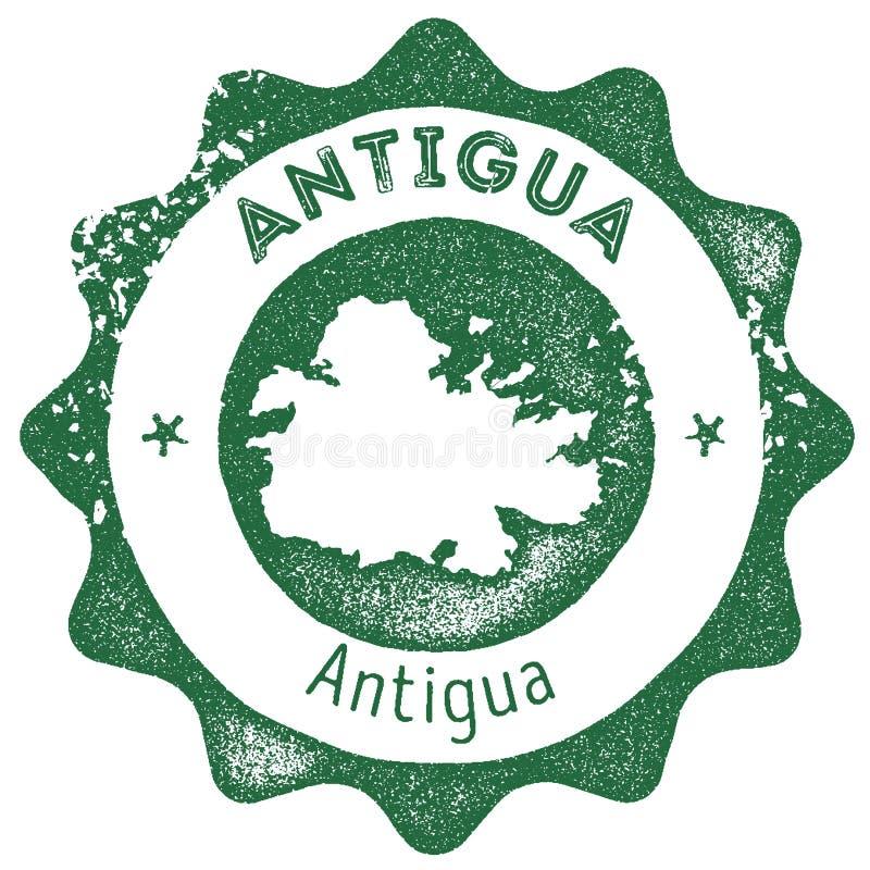 Timbre de vintage de carte de l'Antigua illustration stock