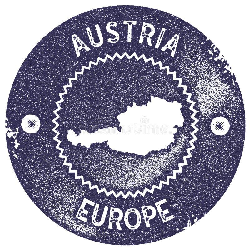 Timbre de vintage de carte de l'Autriche illustration stock