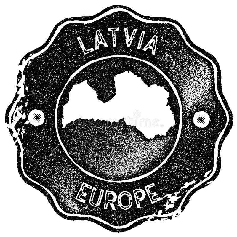 Timbre de vintage de carte de la Lettonie illustration de vecteur