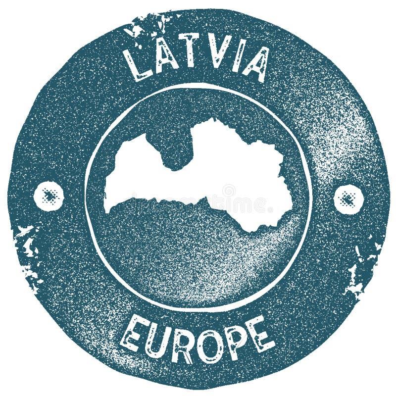 Timbre de vintage de carte de la Lettonie illustration stock