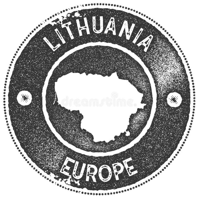 Timbre de vintage de carte de la Lithuanie illustration stock
