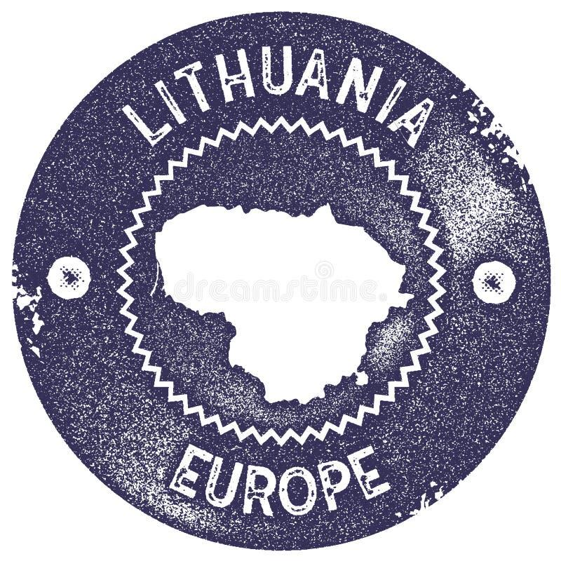 Timbre de vintage de carte de la Lithuanie illustration libre de droits