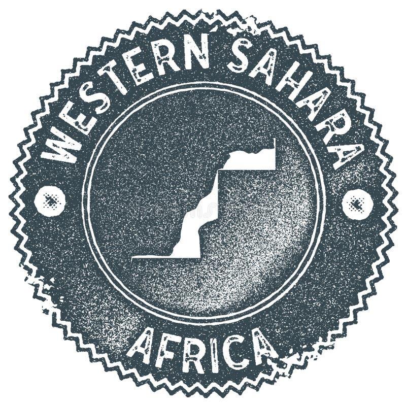 Timbre de vintage de carte de la Sahara occidental illustration stock