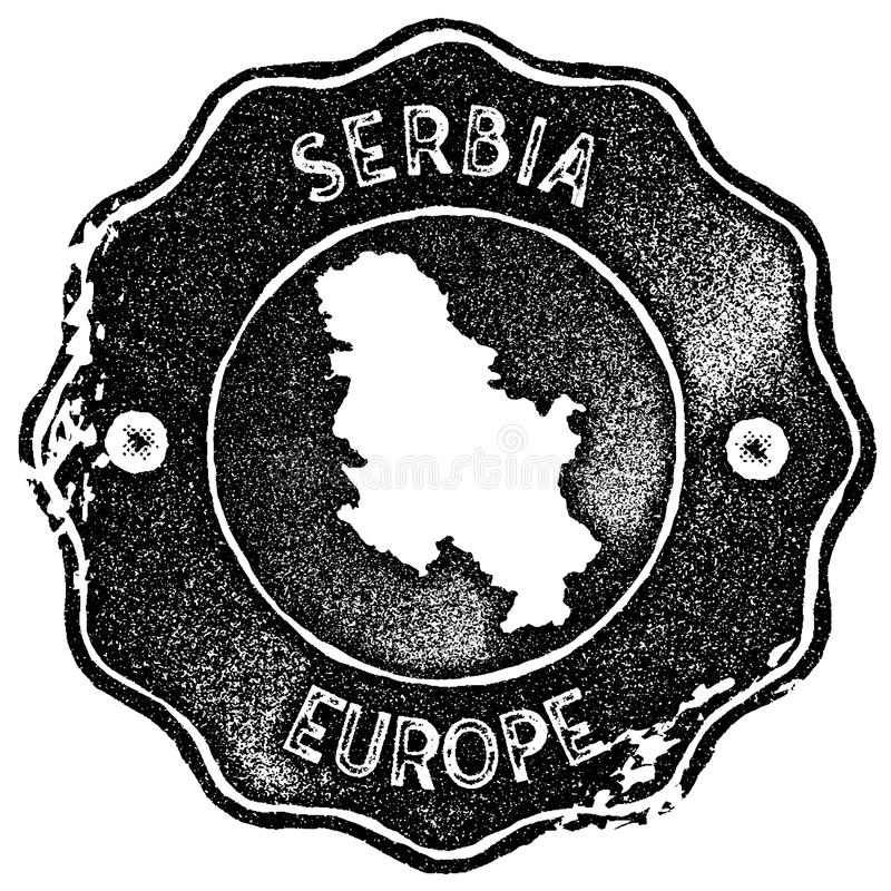 Timbre de vintage de carte de la Serbie illustration stock