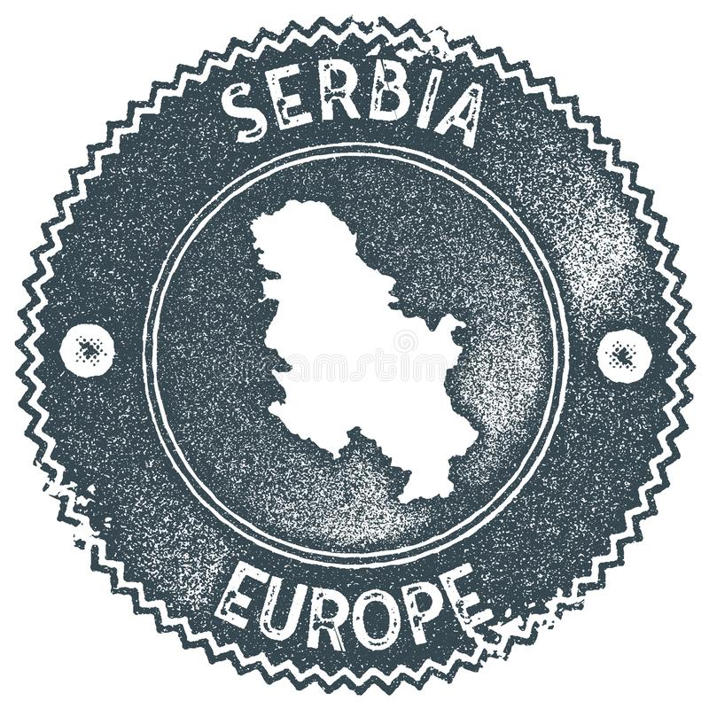 Timbre de vintage de carte de la Serbie illustration libre de droits