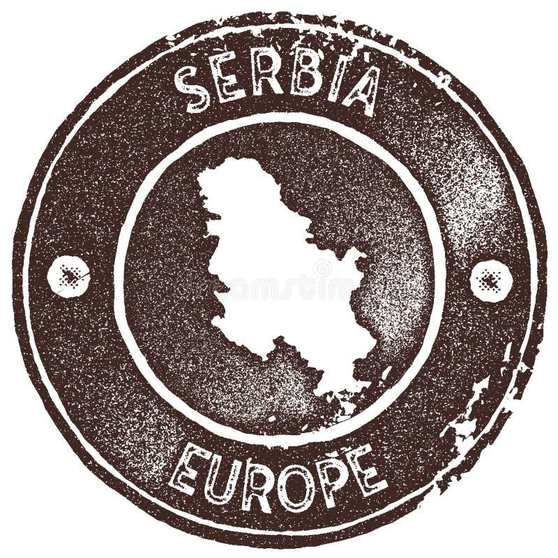 Timbre de vintage de carte de la Serbie illustration de vecteur