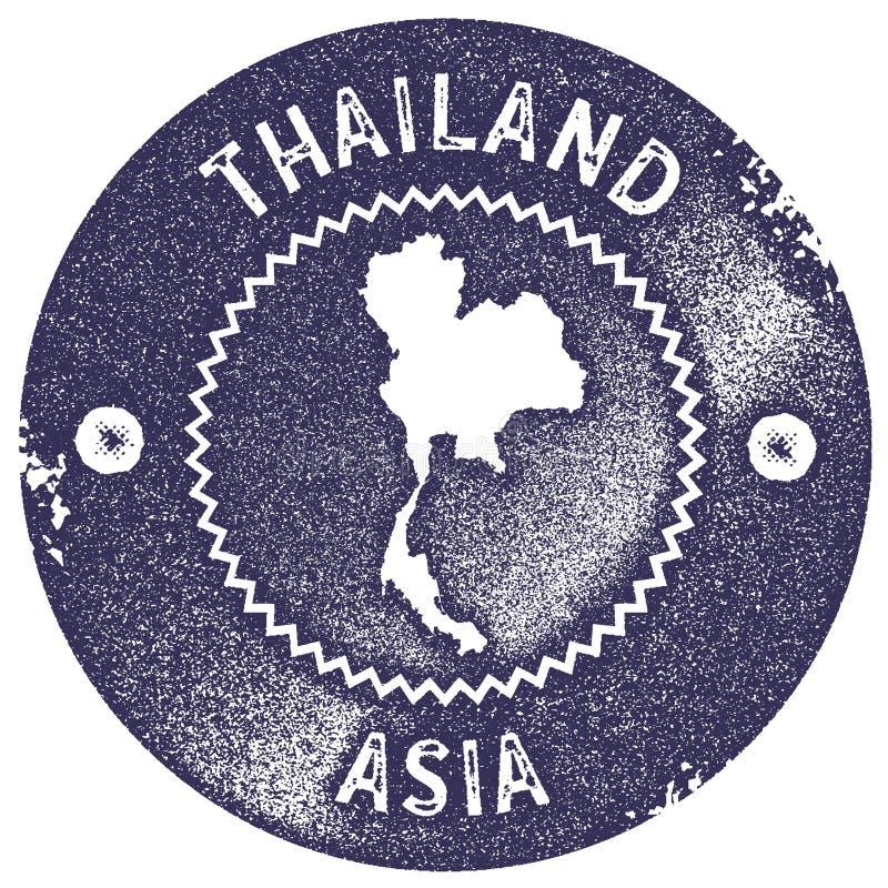 Timbre de vintage de carte de la Thaïlande illustration de vecteur